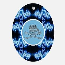 nautical pirate skull modern blue wa Oval Ornament