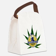 libertarian logo over pot plant Canvas Lunch Bag