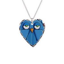 Keychain rect Aqua Owl red Necklace