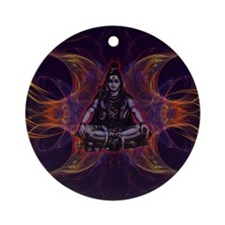 shiva on fractal_small Round Ornament