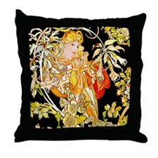 518 IPAD2 MUCHA MARG CLR Throw Pillow