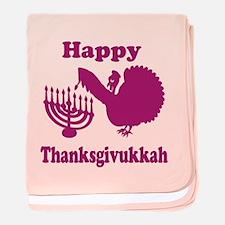 Happy Thanksukkah 3 pink baby blanket
