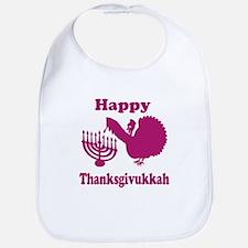 Happy Thanksukkah 3 pink Bib