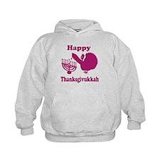 Happy Thanksukkah 3 pink Hoodie