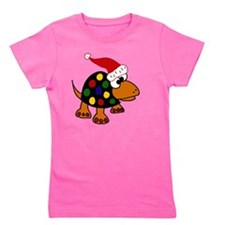 Funny Turtle in Santa Hat  Girl's Tee