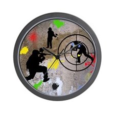 Paintball Mayhem Shower Curtain Wall Clock