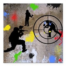 "Paintball Mayhem Shower  Square Car Magnet 3"" x 3"""