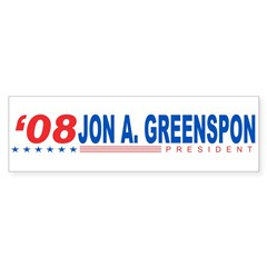Jon A Greenspon 2008 Bumper Sticker