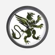 Green Argyle Gryphon Wall Clock