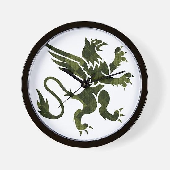 Green Argyle Gryphon Wall Clock
