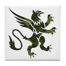 Green Argyle Gryphon Tile Coaster