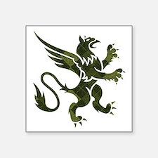 "Green Argyle Gryphon Square Sticker 3"" x 3"""