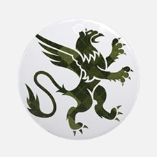 Green Argyle Gryphon Round Ornament