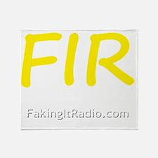 White on Black FIR Logo 3 front Throw Blanket