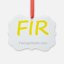 White on Black FIR Logo 3 front Ornament