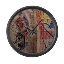 vintage British Flag London UK fa Large Wall Clock