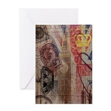 vintage British Flag London UK fashi Greeting Card