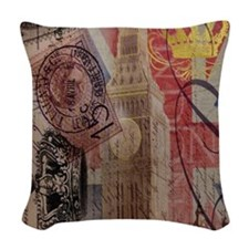 vintage British Flag London UK Woven Throw Pillow