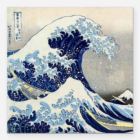 """Pillow Hokusai Wave Square Car Magnet 3"""" x 3"""""""