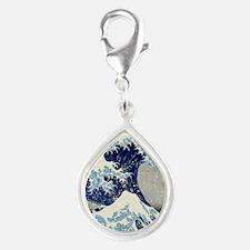 Pillow Hokusai Wave Silver Teardrop Charm