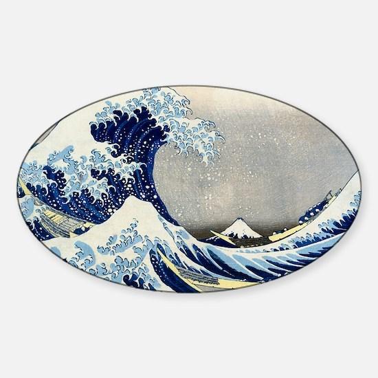 Laptop Hokusai Wave Sticker (Oval)