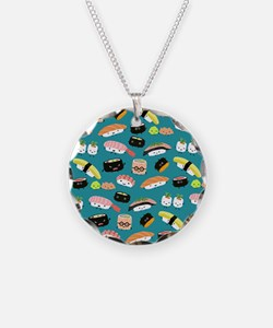 sushishowercurtain Necklace Circle Charm