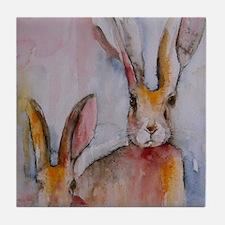 2 Hares Tile Coaster