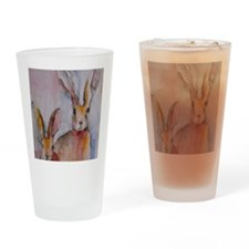 2 Hares Drinking Glass