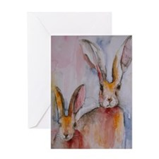 2 Hares Greeting Card