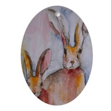 2 Hares Oval Ornament