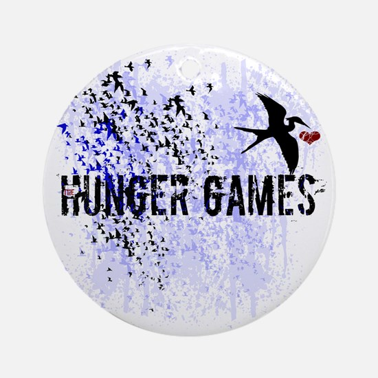 white hunger games grunge with mock Round Ornament