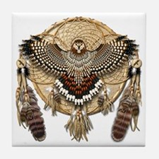 Red-Tailed Hawk Dreamcatcher Mandala Tile Coaster