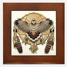 Red-Tailed Hawk Dreamcatcher Mandala Framed Tile