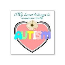 "Autism heart Square Sticker 3"" x 3"""