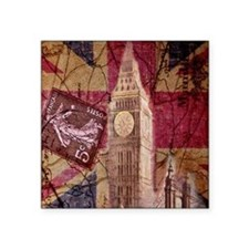 "vintage British Flag London Square Sticker 3"" x 3"""