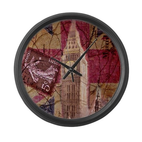 Vintage british flag london uk fa large wall clock by for Large wall clock uk