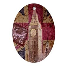 vintage British Flag London UK fashi Oval Ornament