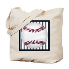 baseball_bluepinstripes Tote Bag
