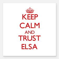 "Keep Calm and TRUST Elsa Square Car Magnet 3"" x 3"""