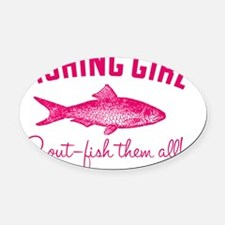 fishing girl Oval Car Magnet