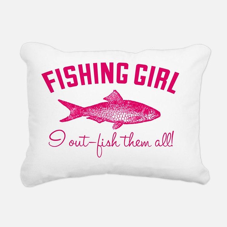 fishing girl Rectangular Canvas Pillow