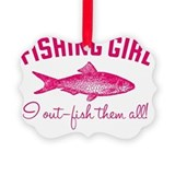 Girls fishing Picture Frame Ornaments