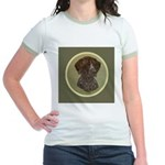 German Shorthair Head Study Jr. Ringer T-Shirt