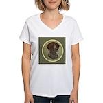 German Shorthair Head Study Women's V-Neck T-Shirt