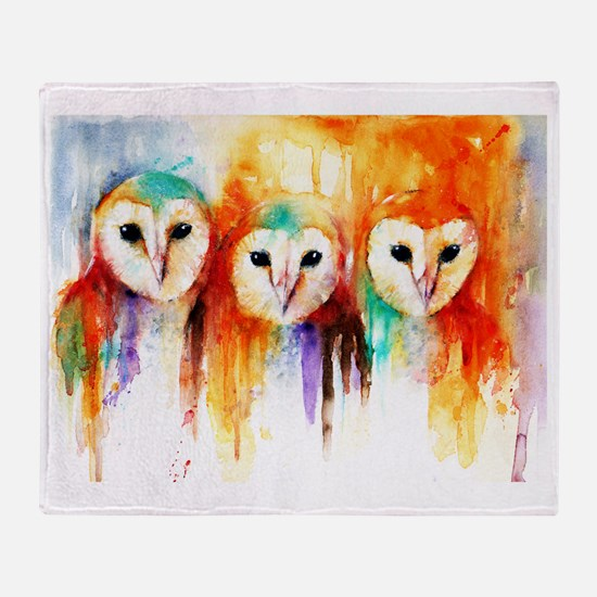 Row of Owls Throw Blanket