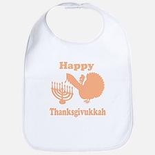 Happy Thanksukkah 3 peach Bib