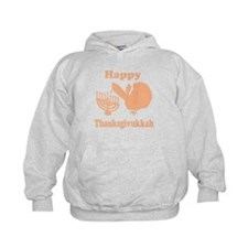 Happy Thanksukkah 3 peach Hoodie