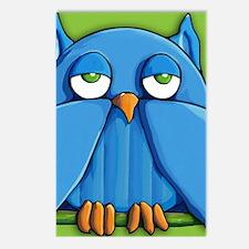 Pillow case Aqua Owl left Postcards (Package of 8)