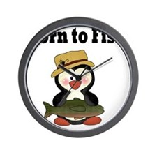 born to fish penguin Wall Clock