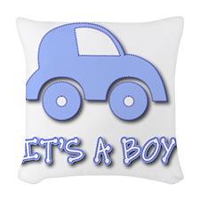 Its a Boy - Baby Boy - Blue Ca Woven Throw Pillow